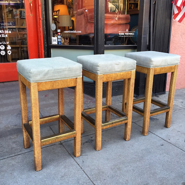 Set of Three Vintage Rope Barstools