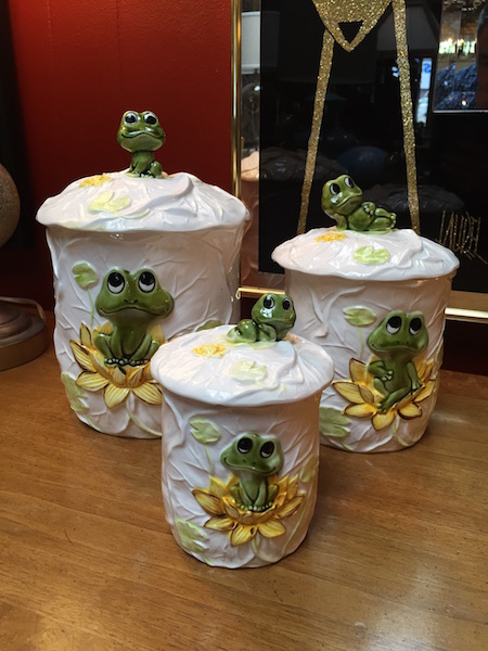 Set of Three Vintage Frog Containers