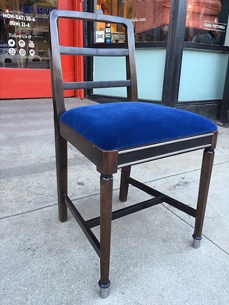 Metal Chair With Blue Seat Cushion