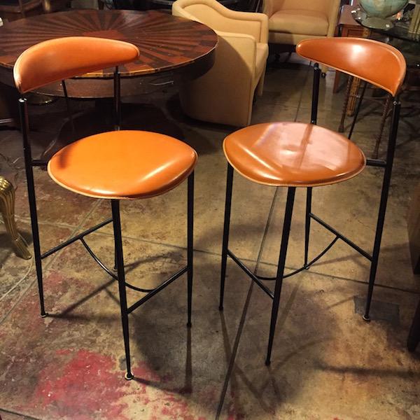 Caramel Leather Bar Stools