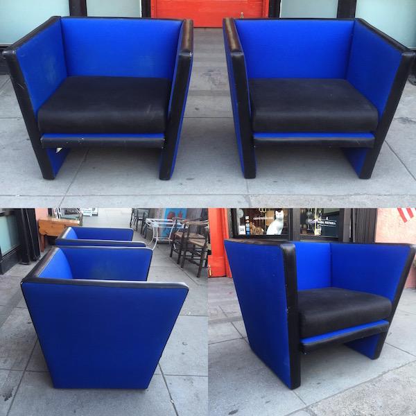 Pair of Cobalt Blue Chairs by GUBI Design