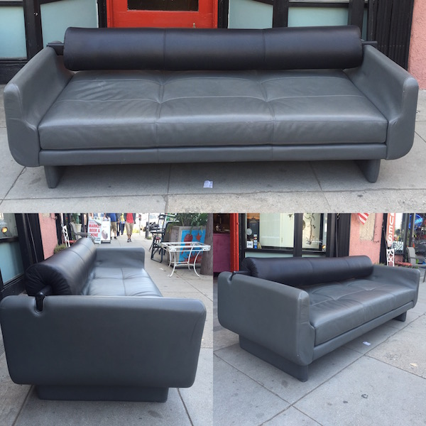 Modern Style Gray and Black Leather Sofa