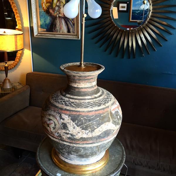Large Mid-century Terracotta Lamp