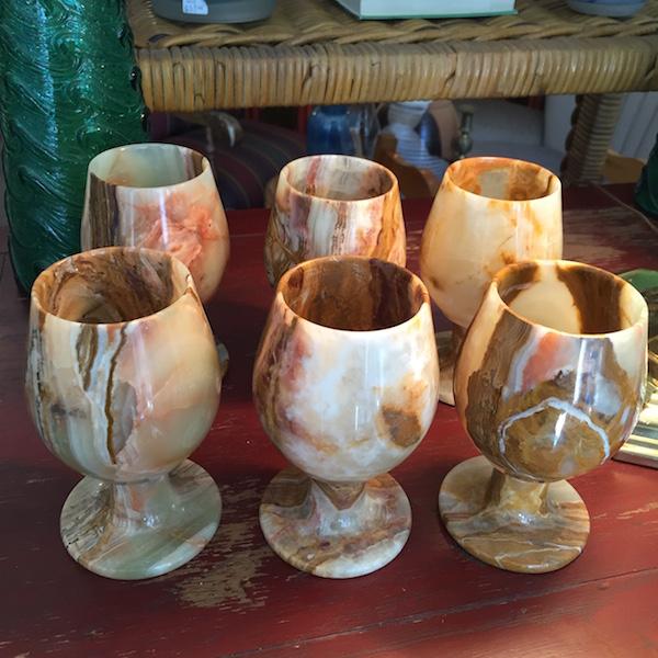 Set of Six Onyx Wine Glasses
