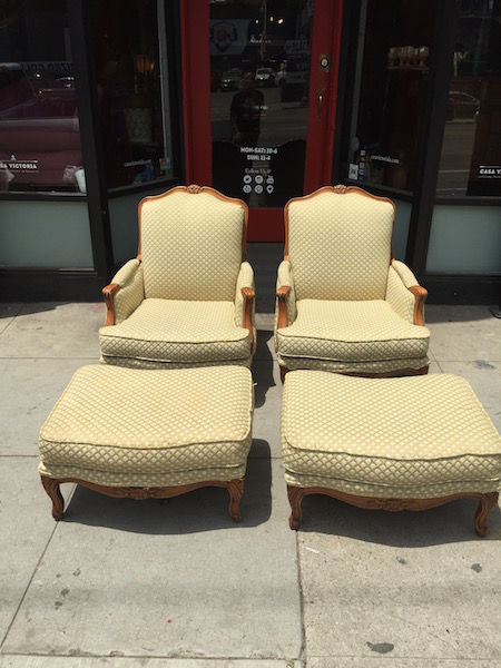 Pair of Vintage Santa Barbara Club Chairs and Ottomans