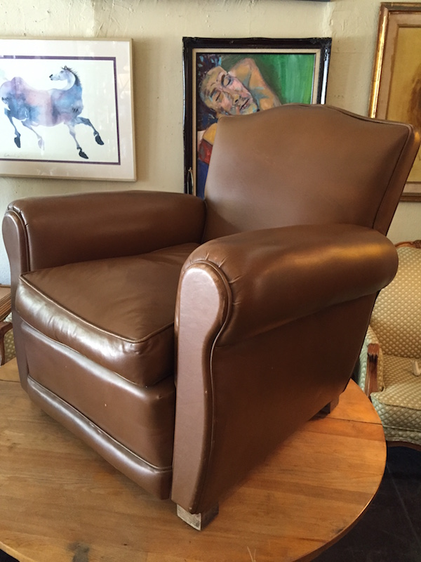 1950s French-style Leather Club Chair