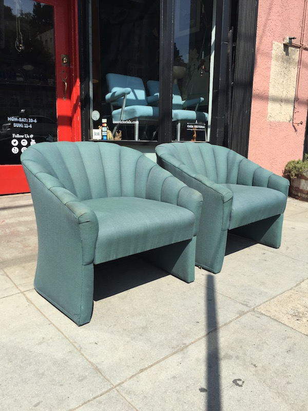Pair of 1981 Custom Made Channel Back Club Chairs