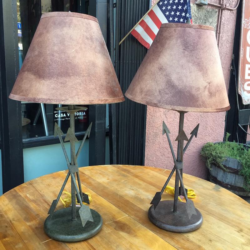 Pair of Vintage Metal Arrow Lamps