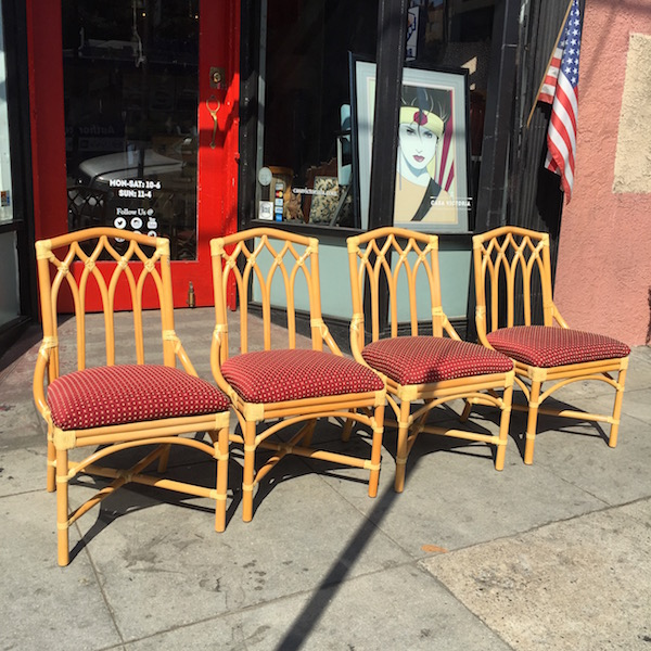 Four Vintage Bamboo and Rawhide Chairs by Kudos