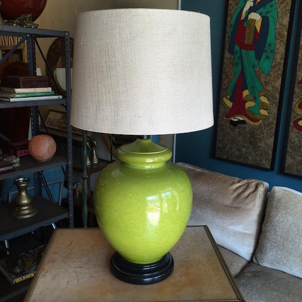Vintage Apple Green Ceramic Lamp