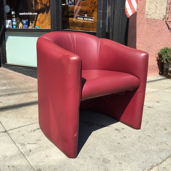 1980s-style Red Leather Arm Chair