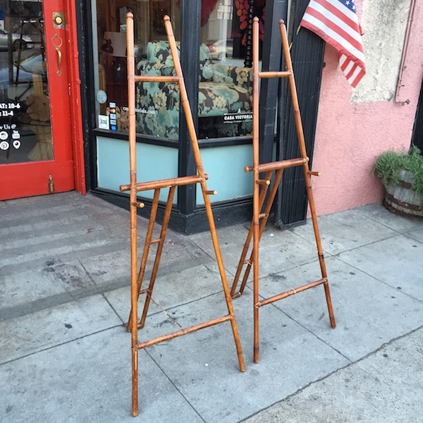 Pair of Vintage Bamboo and Leather Easels