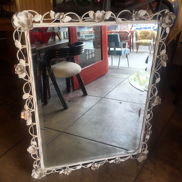 1960s Custom Made Metal Rose Mirror