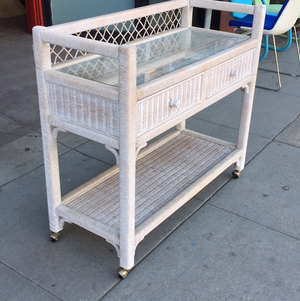Wicker Server/Bar Cart on Wheels