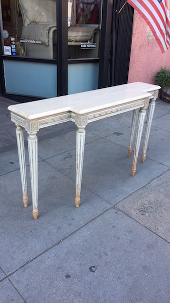 Mid-century Carved Wood Console Table
