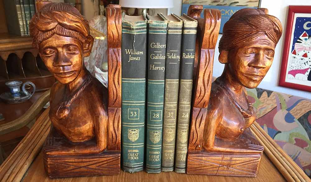 Fabulous hand carved bookends await the reader at Casa Victoria Vintage LA