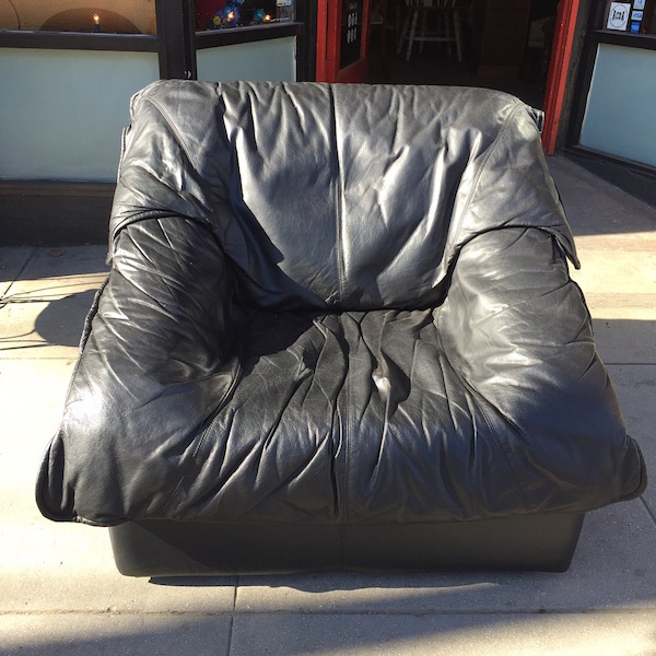 1980s Leather Wrinkle Chair