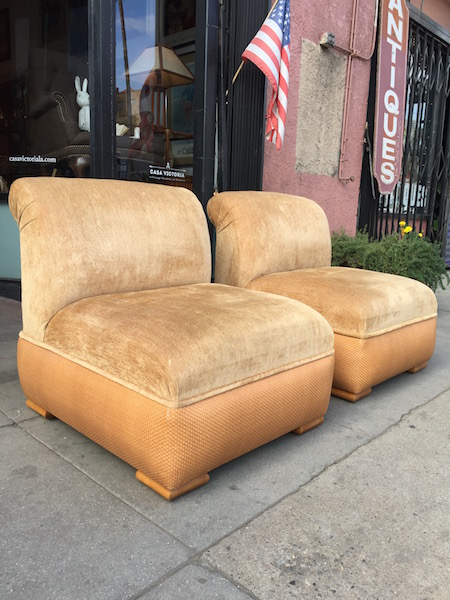 Pair of Custom Made La Jolla Chenille Club Chairs