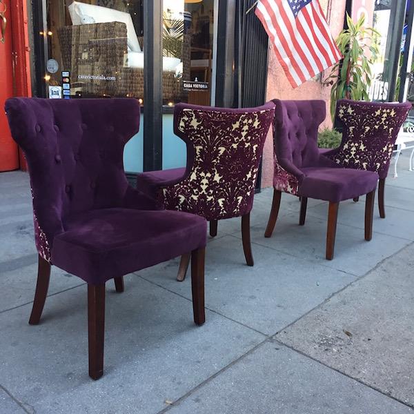 Set of Four Purple Velvet Dining Chairs