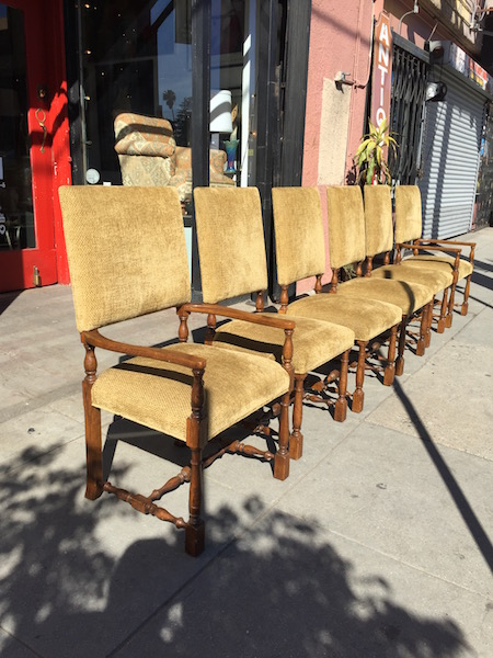 Set of Six Hacienda Chenille Dining Chairs