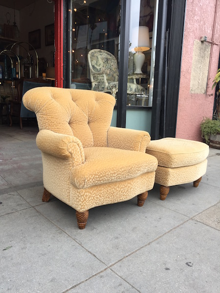 Custom Made Club Chair and Matching Ottoman