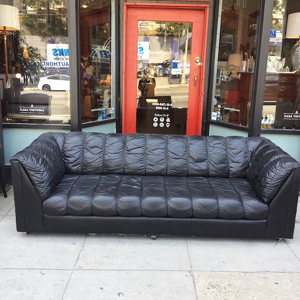 1980s Style Leather Tuxedo Sofa