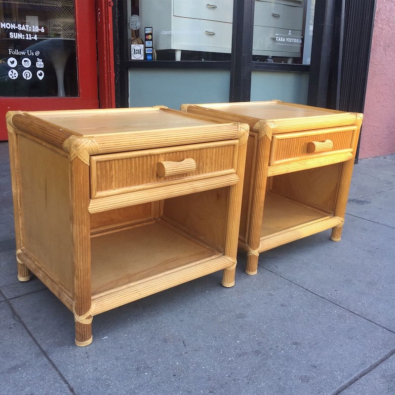 Pair of Wood and Leather Trimmed Nightstands