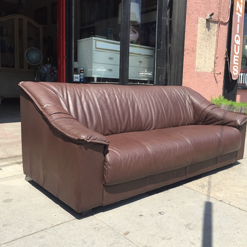 1980s Modern-style Leather Sofa