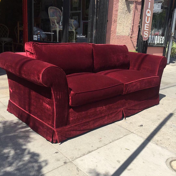 Slipping Into   Pair of Custom Made Deep Red Velvet Sofas ...
