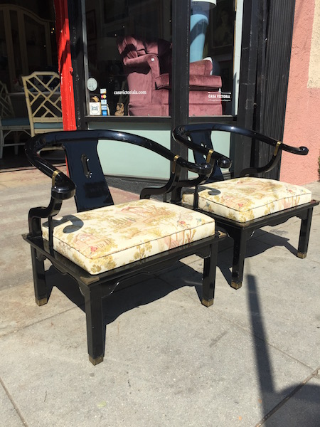 Pair of Lacquered Chinese Horseshoe Chairs