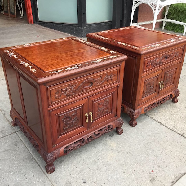 Pair of Vintage Carved Dragon Nightstands