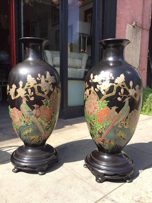 Pair of Super-sized Lacquered Urns