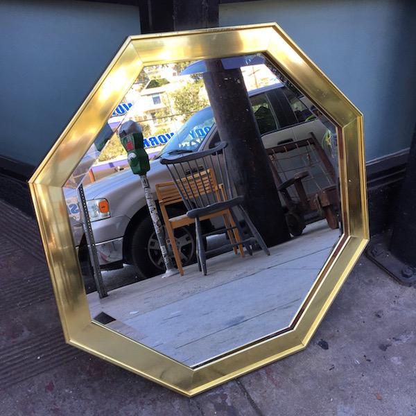1970s Hexagonal Brass Mirror