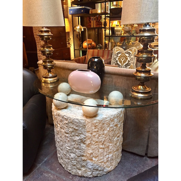 Vintage Stone Ball Console Table