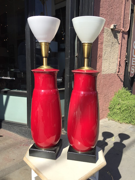 Pair of 1950s Oversized Red Ceramic Lamps