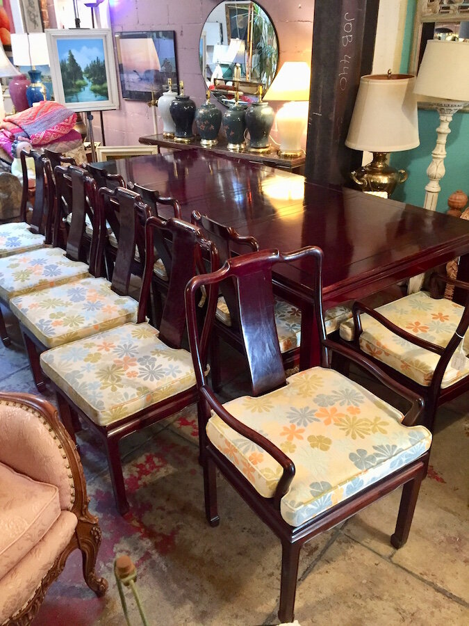 Never Let Go Rosewood Dining Table And Ten Chairs Casa Victoria Vintage Furniture On Los Angeles Sunset Boulevard