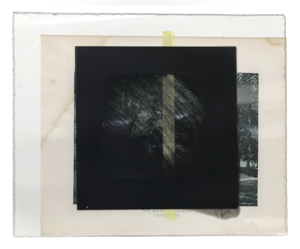 Untitled - Removed Black Square on PlexiGlass, adhered to altered print
