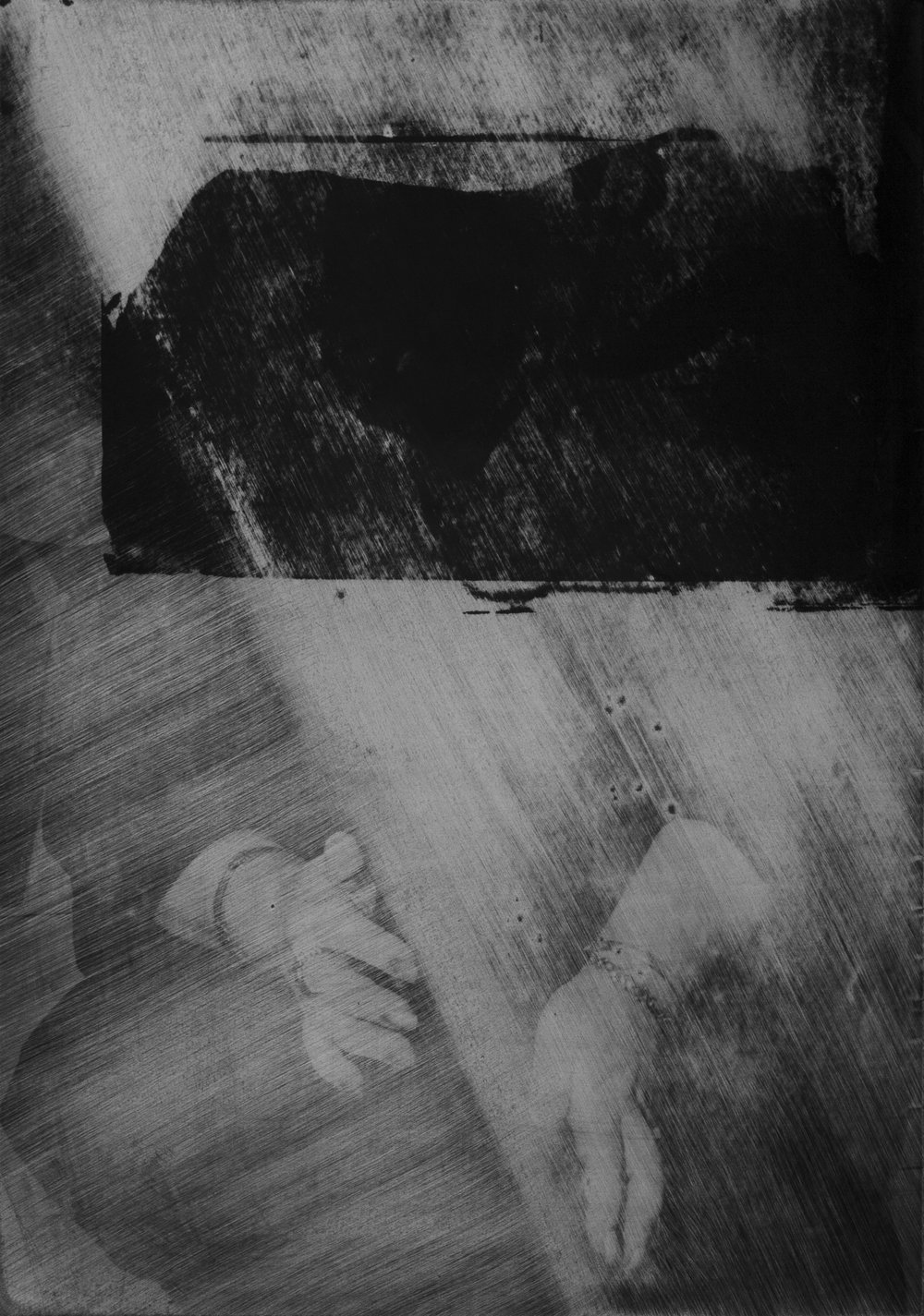 "0.0.0.3 Monochromatic printing on shot & found imagery, sometimes with the addition of old prints, removed in multiple directions, methods & intensities.  15.75"" x 11"""