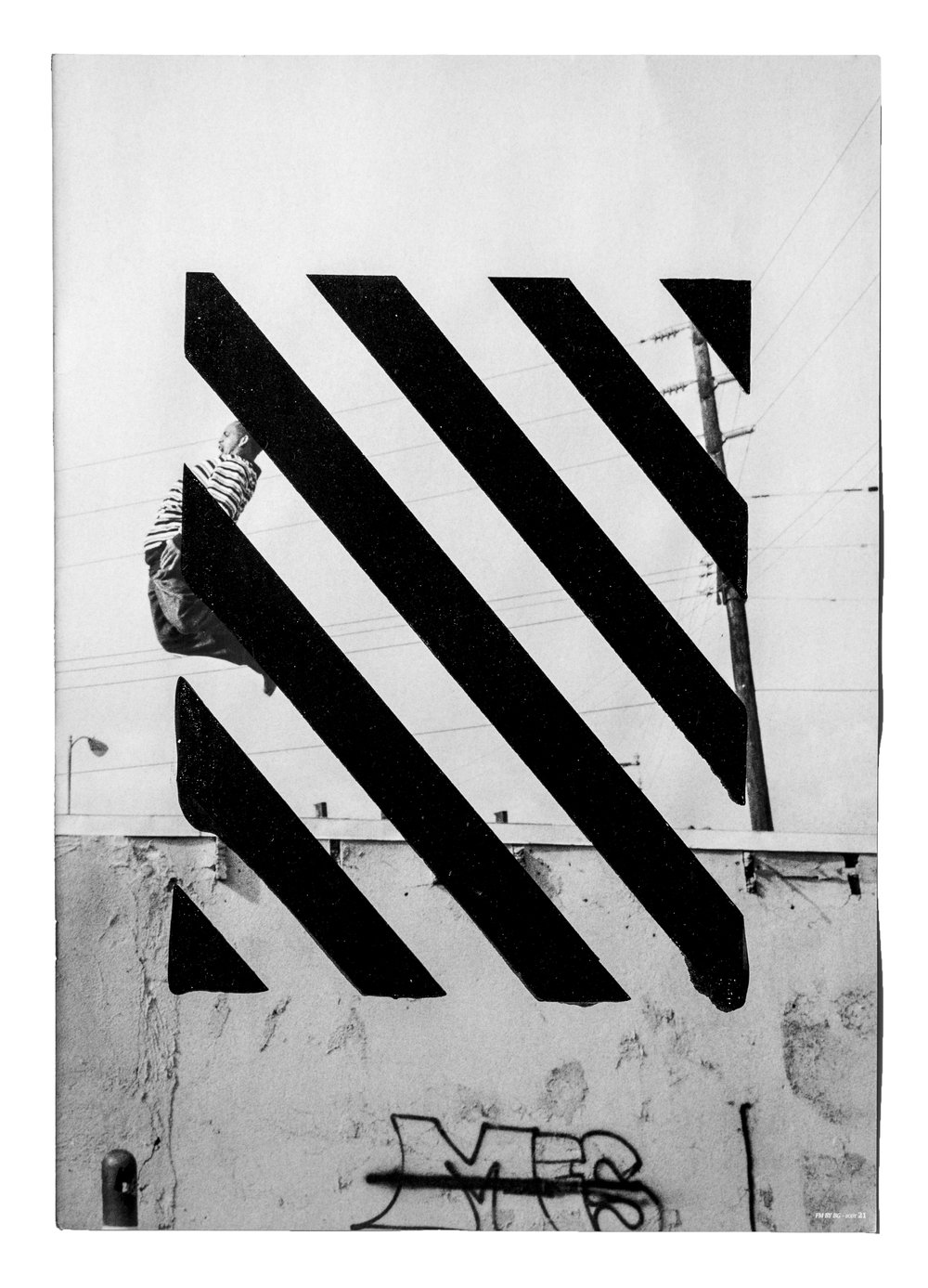 "Do Stop, Kentucky  Angular monochromatic printing on various mediums, sometimes attached to discarded adverts or documents, removed in multiple directions, methods & intensities.  15.75"" x 11"""
