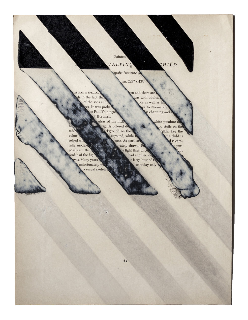 "The Bottle, Alabama  Angular monochromatic printing on various mediums, sometimes attached to discarded adverts or documents, removed in multiple directions, methods & intensities.  15"" x 11"""