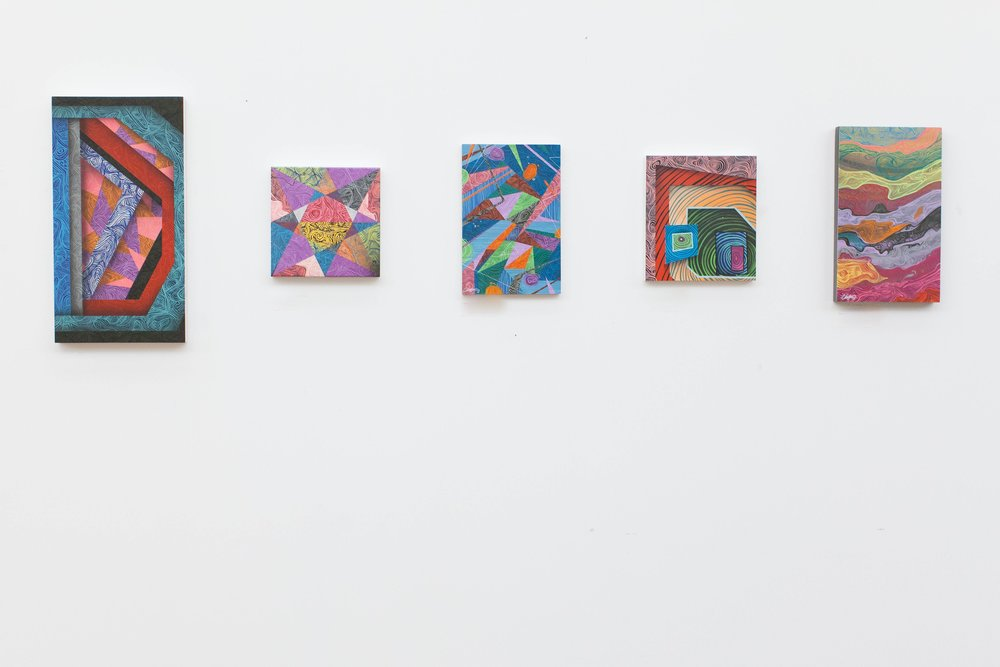 A selection of work on view at the Harris Building in Grand Rapids 2015.