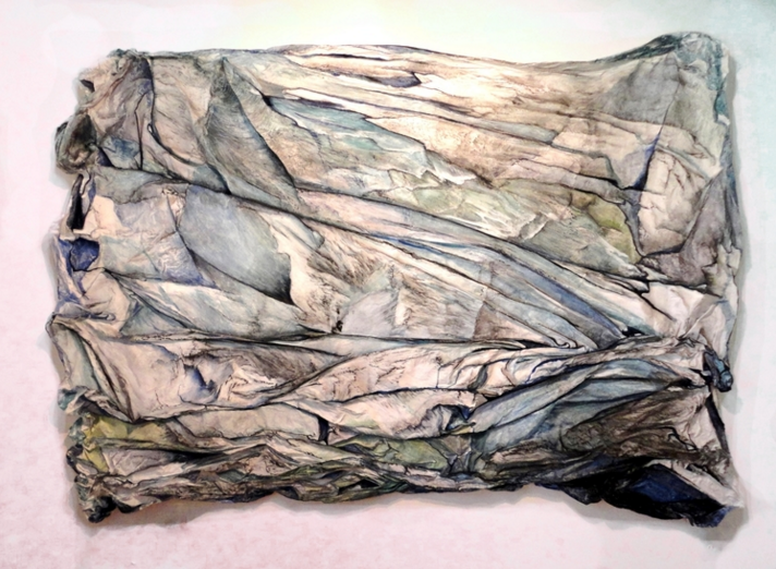 Shift by Aimee Cameron - Mineral pigments, watercolor, acrylic and charcoal on plaster and fabric