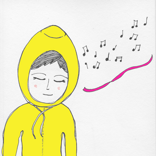 tammie bennett art girl in yellow hoodie