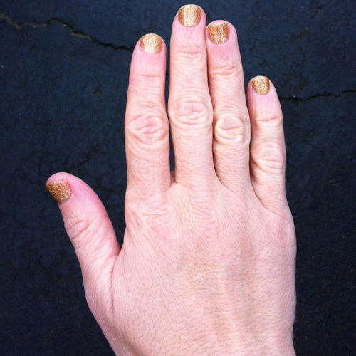 my gold glittery nail polish