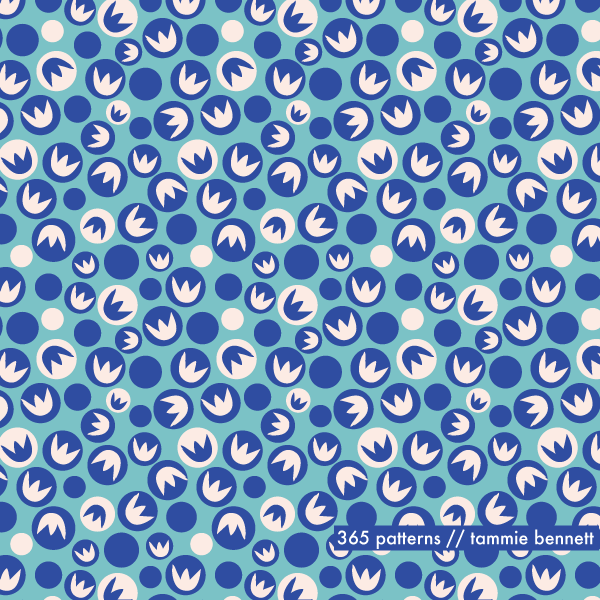ladybug flower repeat pattern blueberry