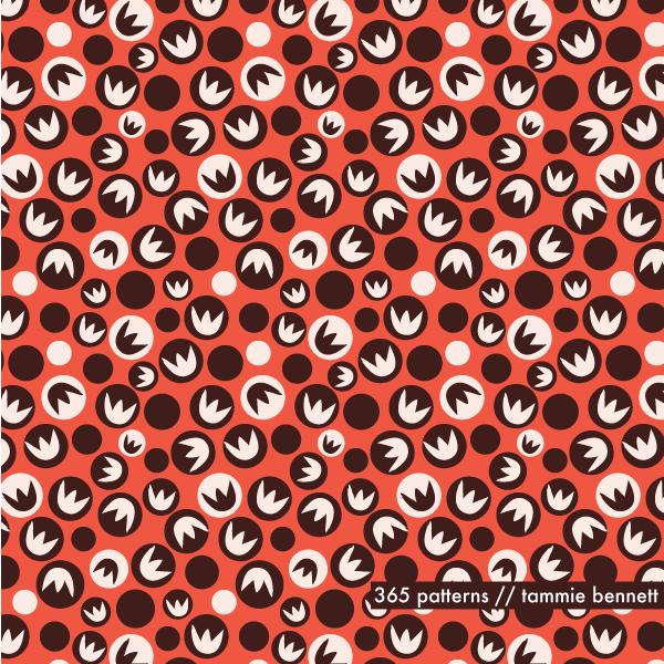ladybug flower repeat pattern - raisin