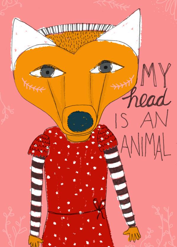 tammie bennett's illustration my head is an animal