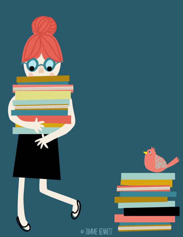 tammie bennett's girls with books print