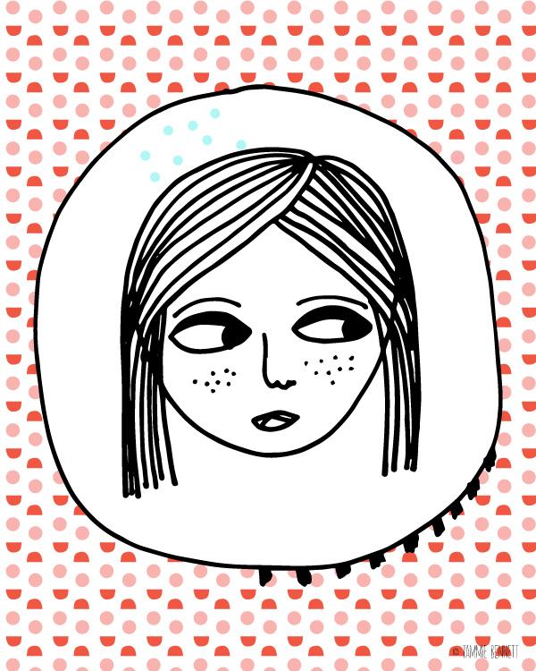 tammie bennett's dotty girl illustration