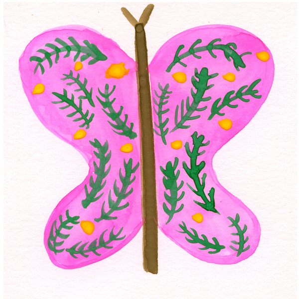 tammie bennett's pink ivy butterfly for her #DOZENdozen monthly art project